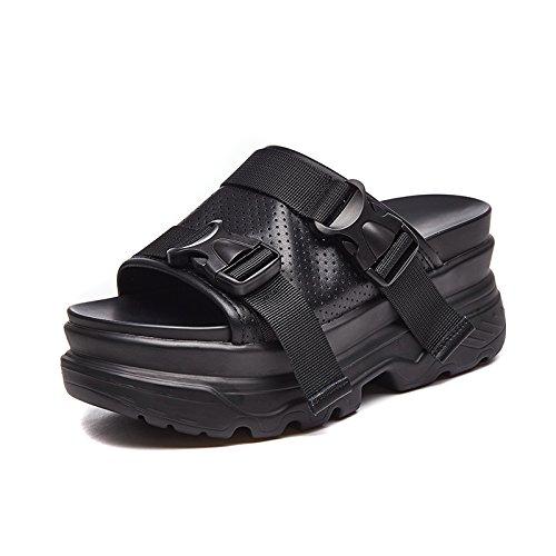 Noir GTVERNH Chaussures pour femmes Cool Femmes Summer Plus Haut Des D'épaisseur Du GÂteau Des Chaussures Des Bas Des Talons - Sauvage De La Pente Des Pantoufles. Thirty-seven