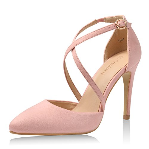 Yeviavy High Heels for Women Pumps Dress Pointed Toe Shoes Strappy Stiletto Buckle Closure D'Orsay Finona Blush Suede 8.5