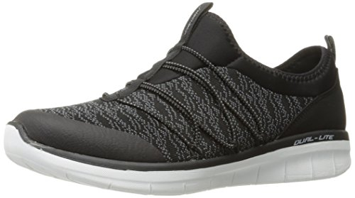Baskets Noir Skechers 0 Synergy 2 black white simply Enfiler Chic Femme FqfHwq8P