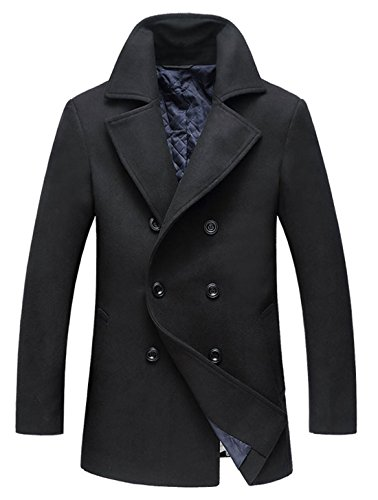 chouyatou Men's Classic Notched Collar Double Breasted Wool Blend Pea Coat (X-Small, Black)