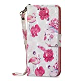 Amocase Wallet Case with 2 in 1 Stylus for Samsung Galaxy M30,Luxury 3D Flamingo Flowers Art Printed Scratch Resistant Magnetic Kickstand Full Body Soft Silicone Strap PU Leather Case