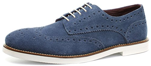 London Brogues Francis Herren Wildleder Halbschuhe Blue/White