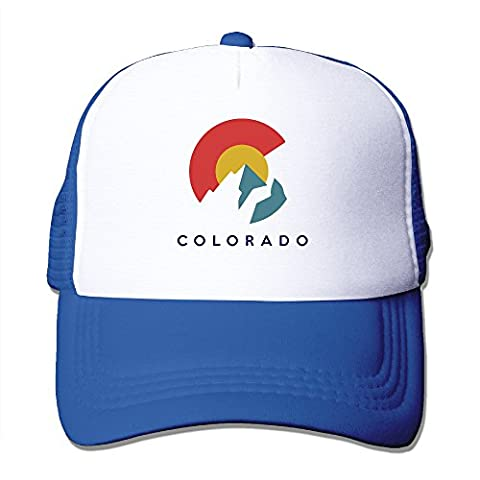 Colorado Flag With Mountains RoyalBlue Adjustable Mesh Trucker Hat