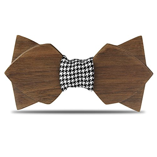 YFWOOD Bowties Wooden Bow Tie for Men,Double Layer Butterfly Pre Tied Wood Bow Ties with Box