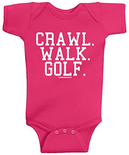 Threadrock Unisex Baby Crawl Walk Golf Infant Bodysuit 18M Hot Pink