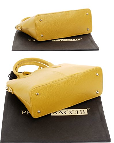 Include Sacchi mano borsetta custodia texture protettiva di una bowling o Grab stile in Giallo Primo pelle Tote a marca tracolla borsa italiana ZCpAdwq