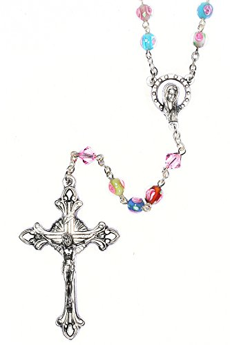 Catholic Prayer Rosary made with Multi-Colored Glass Floral beads and Swarovski Crystals