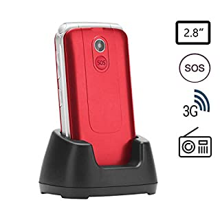 Uleway 3G Unlocked Senior Flip Cell Phone with 2.8 Inch Colour LCD Display, Big Button SOS Emergency Key Compatible Easy-to-Use Basic Cell Phone with Charging Dock, Red (F3103 Red)