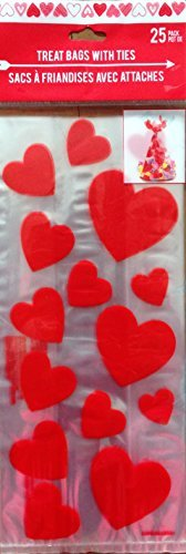 - 25 Clear Red Heart Flat Cellophane Loot Treat Bag Cello Vallentine's Day 11.5
