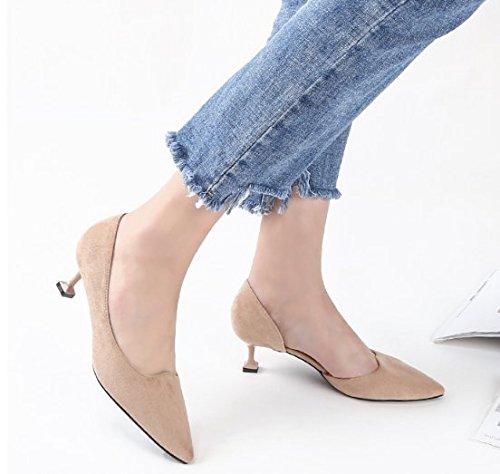 superficial Tacón Ajunr boca 5cm Moda elegante de y zapatos Transpirable de finos jefes zapatos desnudo de alto de 38 39 Zapatos Sharp solo Color tacones el Sandalias cat trabajo talón wx4wYr8Sq