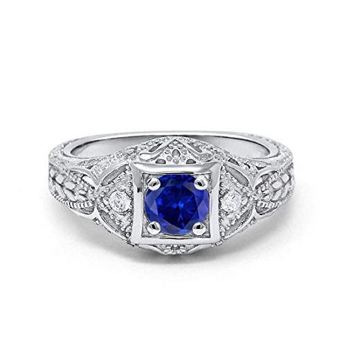 Art Deco Antique Style Wedding Engagement Ring Simulated Blue Sapphire Round Cubic Zirconia 925 Sterling Silver, Size-9 ()
