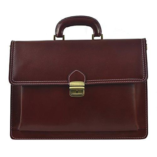 CTM Unisex Geschäftsbeutel, Organisator, Aktentasche aus echtem Leder hergestellt in Italien D7009 - 41x31x18 Cm Rote