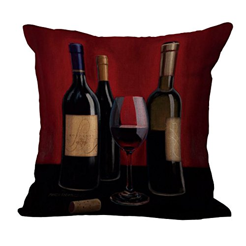 ME COO Red Wine Wine Bottle Wine Glass red Wine Glass Graphic Printing Pillowcase Living Room Decoration Hug Pillow Covers 18 × 18Inches 1pcs