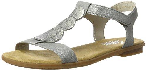 90 Sandales EU Rieker Ouvert 43 Bout Argento Silver Argent Silber Platin Femme 64263 Aq88w5F