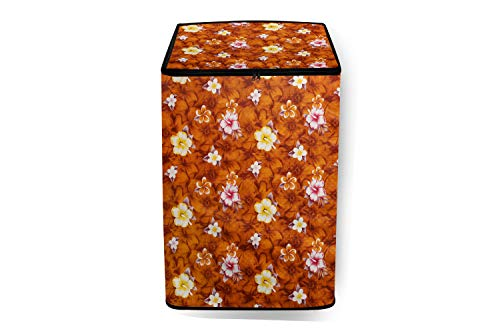 The Furnishing Tree PVC Washing Machine Cover Fully Automatic Whirlpool 7 kg Top Load Stainwash Ultra 7.0 Floral Pattern Orange