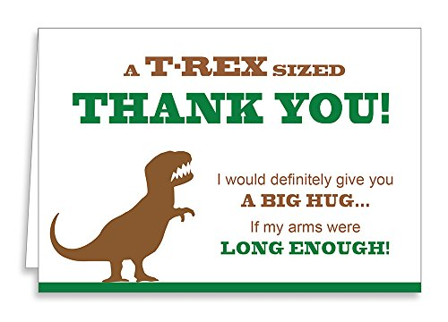 - T-Rex Funny Thank You Cards and Envelopes - Dinosaur Party Novelty Item (12-Pack)
