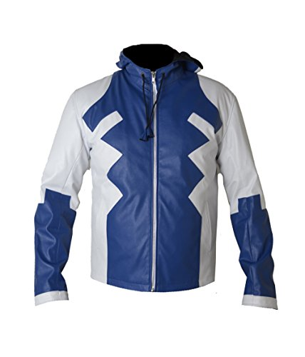 HLS Men's Marvel Deadpool V4 Blue & White Faux Leather Jacket