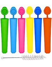 Silicone Ice Pop Molds Attached Lid Multi Colored Ice Popsicle Molds Durable Reusable