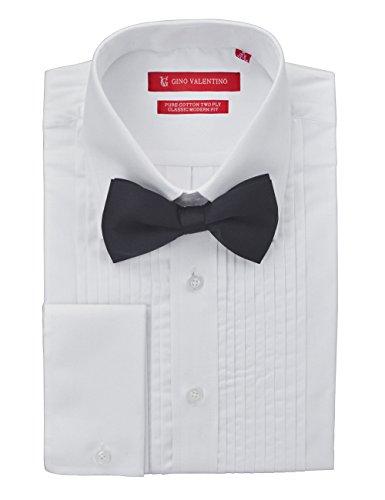 Spread Collar Tuxedo (Gino Valentino Mens Tuxedo Dress Shirt Bow Tie 100% Cotton Spread Collar White (19.5
