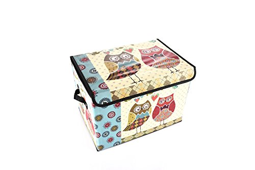 Luxury Home Kids Collapsible Toy Chest Collection Two Owls Toy Box Folding Storage Ottoman for Kids Bedroom | Perfect Size Toy Chest for Books, Kids Toys, Baby Toys, Baby Clothes