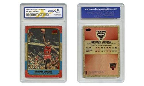 Michael Jordan Fleer Rookie Card Genuine Poly-Chrome Brushed Gold GEM-MINT 10