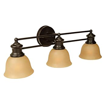Craftmade 19822OB3 Vanity Light with Tea-Stained Glass Shades, Oiled Bronze Finish - Vanity ...