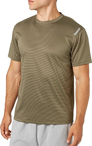 (Reebok Men's Stripe Performance T-Shirt (Army Grn/Rosin Dd Stripe, M))