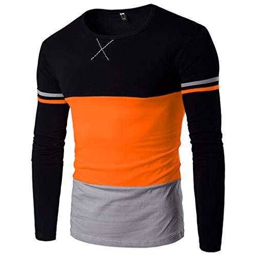 (2019 Latest Hot Style! Teresamoon Men's Autumn Winner Splicing Long Sleeve Pullover weatshirts Top Blouse)