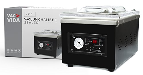 VAC-VIDA VS301 Vacuum Chamber Sealer | Constructed With A Sleek Black Stainless Steel Outside | Modern Control Panel | Extra Powerful Oil Pump | Perfect For Serious Home User Or Restaurant ()