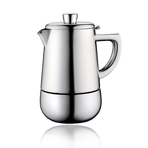 (Minos Moka Pot Espresso Maker - 6 cups - 10 fl oz - Stainless Steel And Heatproof Handle - Suitable for Gas, Electric And Ceramic Stovetops)