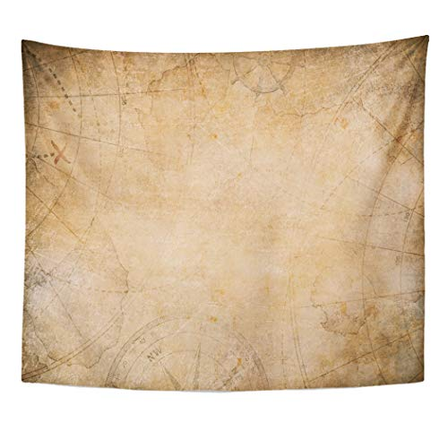 (Emvency Decor Wall Tapestry Brown Old Aged Treasure Map Compass Antique Pirate Parchment World Wall Hanging Picnic for Bedroom Living Room Dorm 60x50 Inches)