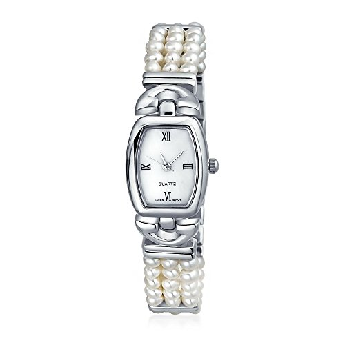 3 Row Freshwater Cultured Pearl Bridal Watch Stainless Steel Back by Bling Jewelry