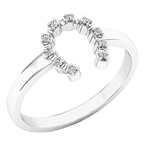 Ring Diamond Ladies Horseshoe (Dazzlingrock Collection 0.05 Carat (ctw) Sterling Silver Round White Diamond Ladies Horseshoe Engagement Ring, Size 4.5)