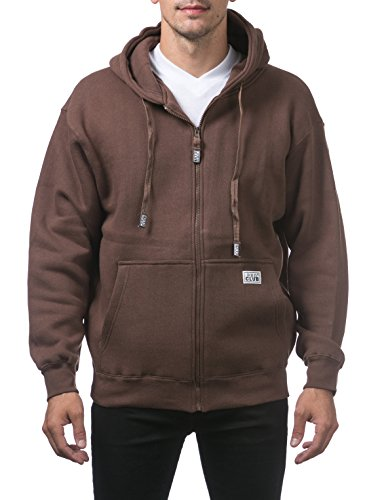 (Pro Club Men's Heavyweight Full Zip Fleece Hoodie, Brown, X-Large)