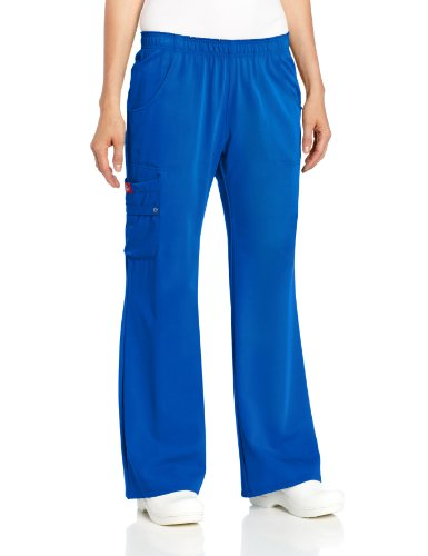 Dickies Scrubs Women's Xtreme Stretch Fit Elastic Waist, Royal, Large (Blue Pants Stretch)