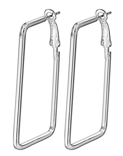 Bigood Rectangle Plated 925 Sterling Silver Simple Modern Hoop Earrings White - Hoop Rectangle Earrings