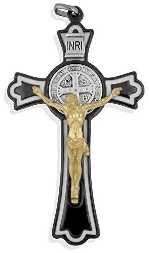 Black Saint Benedict Cross with White Enamel Inlays, 3