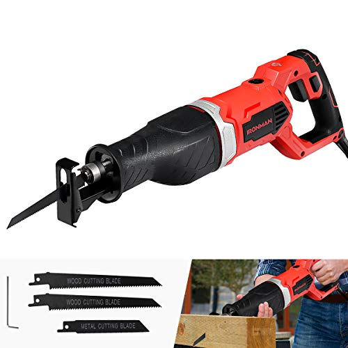 (Goplus Reciprocating Saw, 9Amp 1-1/8'' Stroke Length, 2500SPM Variable Speed and Trigger Switch with 3 Saw Blades for Wood and Metal Cutting, Electric Saw with Copper Wire Motor and Power Indicator )