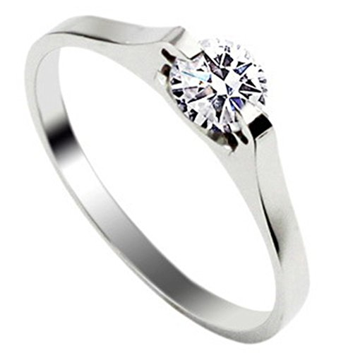JSDY Stainless Steel Simple 1.5mm Silver Cubic Zirconia Engagement Wedding Rings for Women size 6