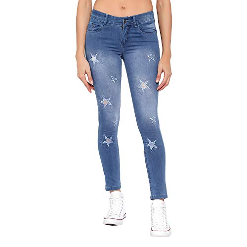 XYLA Light Blue Embroidery Women Jeans