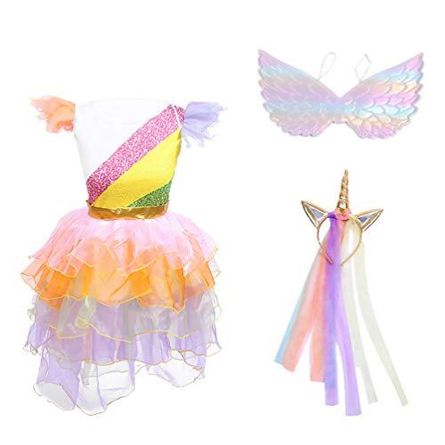 LUOEM 3Pcs Eenhoorn Kostuum Kinderen Verkleedoutfits Bijenvleugels Eenhoorn Hoofdband Tutu Rok Jurk Set Eenhoorn Kostuum…