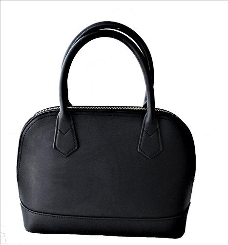 Purse Top Black Zip (Satchel Handbag | Top Handle | Zipper Closure (Black))
