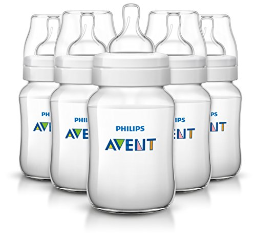 Philips AVENT Anti-Colic BPA Free Bottle, Clear, 9 Ounce,5 Piece