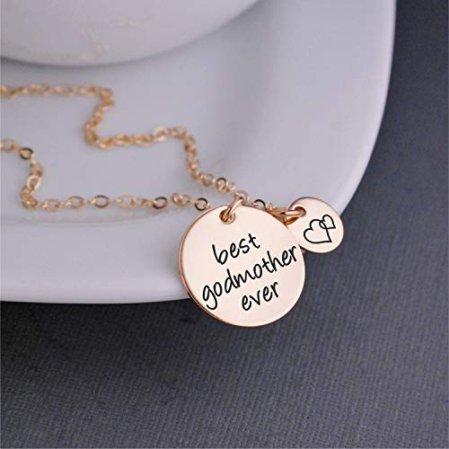 Heart Godmother (Gold Best Godmother Ever Necklace, Godmother Jewelry Gift with Heart Charm, Christmas Gift for Godmother)