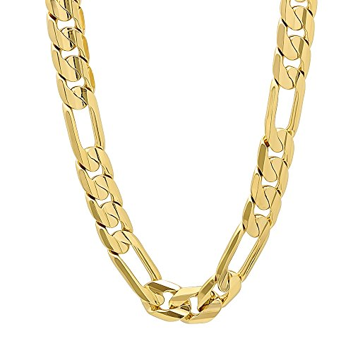 9.3mm 14k Gold Plated Flat Figaro Link Chain Necklace, 36'' + Microfiber Jewelry Polishing Cloth by The Bling Factory