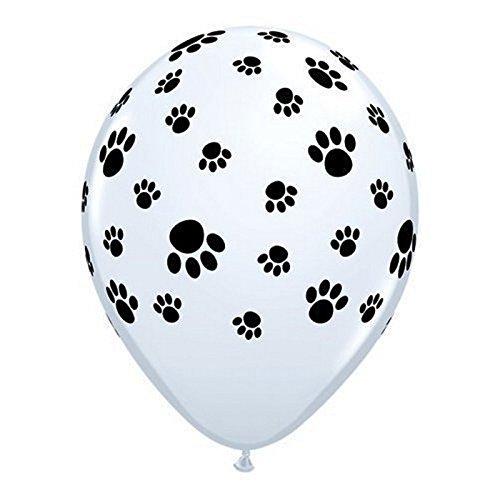 12 White Balloons with Black Paw Prints - (101 Dalmatians Party Supplies)