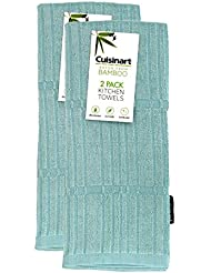 """Cuisinart Bamboo Dish Towel Set - Kitchen and Hand Towels for Drying Dishes / Hands - Absorbent, Soft and Anti-Microbial-Premium Bamboo / Cotton Blend, 2 Pack, 16 x 26"""", Turquoise, Bark-Effect Design"""
