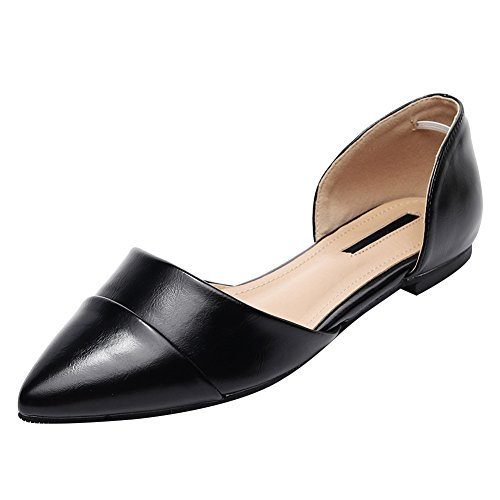 Black Comfort Women Stylish amp; Ballerinas Faux Pointed D'Orsay Toe Shoes Two Leather Jamron Piece Ogn1qHO