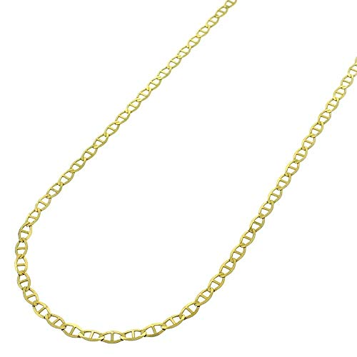 Becca Code 14K Gold Unisex 1.5mm Flat Mariner Link Chain Necklace- 14k Gold Necklaces 18