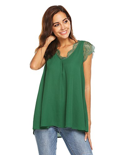 Lace Chiffon Blouse (Grabsa Women's Summer Casual Sleeveless Tops Shirts Back Pleated Chiffon Blouse)